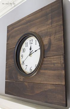 wood framed wall clock inspired by Pottery Barn's grand hotel clock