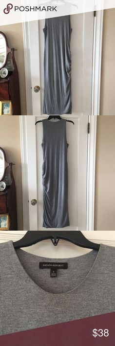 Long grey fitted Banana Republic dress Very flattering.  Will definitely show off those curves!  Fun gathered hem.  Can easily dress up or down. Banana Republic Dresses