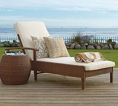 Outdoor Chaise Lounge Chairs & Outdoor Lounge Chairs | Pottery Barn  something like this would be nice but would have to be waterproof and we can just have dora or mom gail bring them in if there is a storm coming if we can't do waterproof