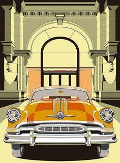 Vintage car illustrations by Jansword Zhu