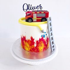 Firefighter Birthday Cakes, Truck Birthday Cakes, Fireman Birthday, Fireman Party, 5th Birthday, Happy Birthday, Birthday Gag Gifts, Birthday Sayings, Birthday Images
