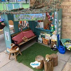😍 Fancy encouraging role play and reading outside? We love Kim's gorgeous outdoor learning area which includes our beautiful banner. Clicks to find lots of great role-play teaching resources over on our website. Reading Garden Classroom, Book Corner Classroom, Eyfs Classroom, Outdoor Learning Spaces, Outdoor Play Areas, Water Games For Kids, Indoor Activities For Kids, Family Activities, Role Play Areas Eyfs