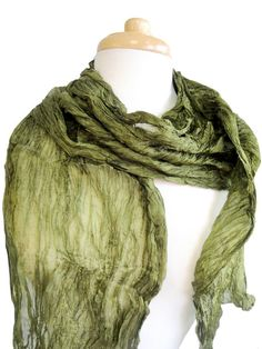 """We think these crinkled silk scarves are the perfect casual color accent for one's wardrobe. They are a customer favorite, so for this fall and winter they are designed slightly longer and wider than normal for extra warmth.  We hope you find this fitting!  Dimensions: 84"""" x 30"""" Style: S160"""