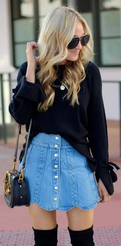 black and denim | sweater + bag + over knee boots + skirt
