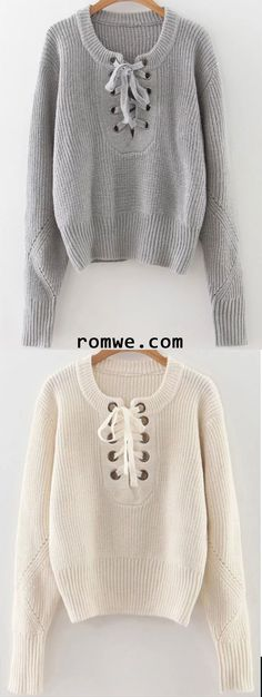 best service 13b69 cc462 Eyelet Lace Up Ribbed Trim Sweater Chaqueta Nike, Vestido De Lana, Vestidos  Profesionales,