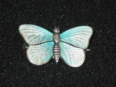 Charles Horner sterling silver guilloche butterfly pin