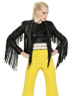 BALMAIN - FRINGED NAPPA LEATHER JACKET - LUISAVIAROMA - LUXURY SHOPPING WORLDWIDE SHIPPING - FLORENCE