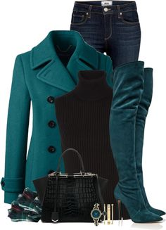 stylish teal coat with over the knee boots fall polyvore outfit bmodish