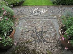 Olive tree pebble mosaic by Maggie Howarth at Gresgarth Hall Pebble Mosaic, Mosaic Art, Mosaics, Path Design, Olive Tree, Garden Accessories, Garden Paths, Dream Life, Inventions