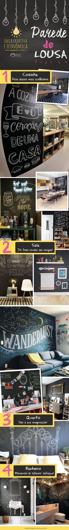 Parede de lousa: decoração criativa e econômica - Blog da Mimis #blogdamimis #decor #lousa #parededelousa