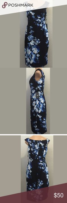 "Adrianna Papell dress 10 blue & black floral print Size 10 beautiful floral print dress. Polyester and Elastane. Bust 17"" armpit to armpit. Waist 15"" side to side. Hips 19"" side to side. Length 39"" shoulder to hem. Measurements are approximate. Fully lined, zipper back closure. No stretch to garment. Adrianna Papell Dresses"