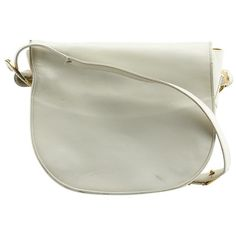 Pre-owned Judith Leiber Vintage White Leather Shoulder Bag ($46) ❤ liked on Polyvore featuring bags, handbags, shoulder bags, white, hand bags, shoulder handbags, long strap purse, leather handbags and vintage leather handbags