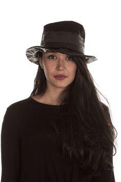 Masnada Damen Hut CRUSHED schwarz