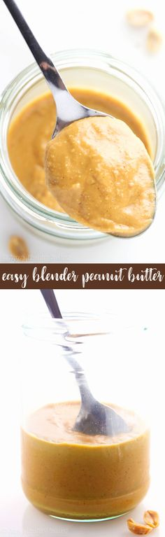 {HEALTHY!} Easy Blender Peanut Butter -- you just need 2 ingredients & 5 minutes! Silky smooth & creamy! This tastes SO much better than store-bought. I'm never going back!