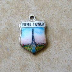 Sterling Silver Eiffel Tower Paris France Enamel Travel Shield Bracelet Charm
