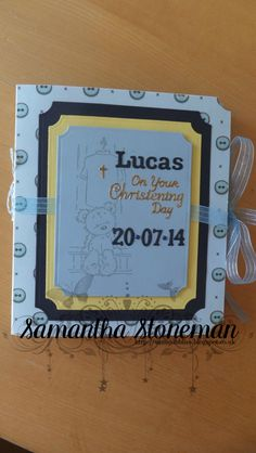 Christening card for a special little boy, Handmade by Samantha Stoneman