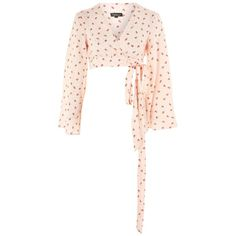Topshop Floral Jacquard Wrap Top (12.030 HUF) ❤ liked on Polyvore featuring tops, pink, pink wrap top, white top, white evening tops, holiday tops and pink floral top