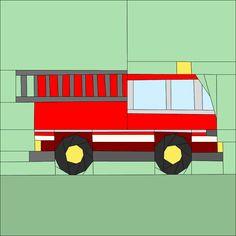 """Fire Engine 12"""" (30cm) paper pieced patterns quiltartdesigns.blogspot.com"""