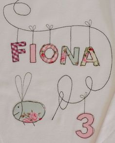 """Long Sleeve Shirts - Birthday Shirt """"Bee"""" - a unique product by tinybutton on DaWanda Freehand Machine Embroidery, Free Motion Embroidery, Free Machine Embroidery, Embroidery Applique, Sewing For Kids, Baby Sewing, Karten Diy, Fabric Cards, Floral Patches"""