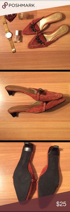 Apostrophe Suede Leather Kitten-Heeled Loafers Lightly worn. Brand:Apostrophe. Style:Pippa. These slide on, backless loafers are a fabulous addition for any occasion. Great rust color is accented with brass chain detail. Leather is in near perfect condition.  Only sign of faint wear is directly under the chain. Minor marks on soles from tag removal. Worn twice so minimal wear on the shoe overall. Please let me know if you'd like an extra pic. Accessories not included. Please let me know if…