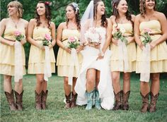 Simple but beautiful. The yellow is beautiful. Also, the brides' turquoise boots? Perfection! #WesternWedding #CountryWedding #CowgirlBoots #CowboyBoots #Yellow #Turquoise