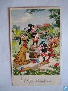 Disney wenskaart:  Vrolijk Paasfeest.  1958