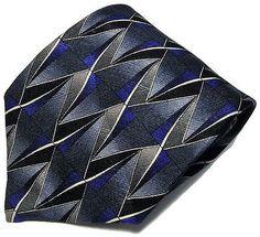 Danielli Milano Necktie Blue w/ Multi-Color Hand Made ITALY Silk Geometric Tie