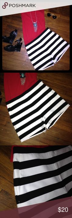 Express High Waisted Stripe Shorts NWOT NWOT. Express highwaist shorts.  Stretchy. Side zipper with front pockets.  Super super cute black and white.  Purchase these with two others without trying on and they did not fit sadly. Express Shorts