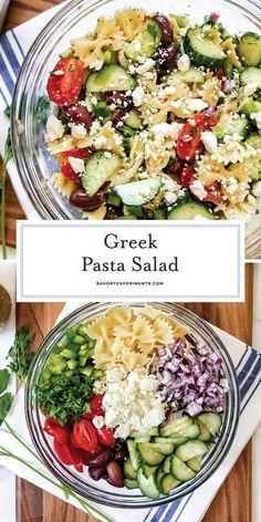 Greek Salad Pasta, Easy Pasta Salad, Pasta Salad Recipes, Soup And Salad, Best Greek Salad, Dressing For Greek Salad, Pasta Salad With Feta, Pasta Salad Dressings, Salad With Feta Cheese