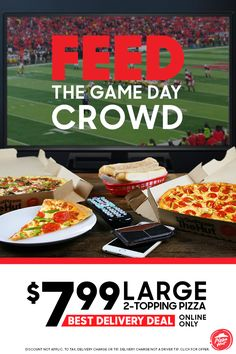 Hosting a watch party this season? Order $7.99 large 2-topping pizzas from Pizza Hut for the best delivery deal. It's the no hassle solution that everyone will be pleased with. Online only. DELIVERY MIN & FEES APPLY. ADDIT. CHARGE FOR EXTRA CHEESE, STUFFED CRUST AND ADDIT. TOPPINGS. Partic. varies. Delivery charge not a driver tip.
