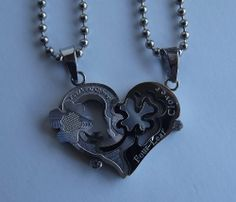 """1 PAIR Couple Heart and Clover Pendant Necklace """"Silver and Silver"""" Lover's Valentine's Gift - FREE SHIPPING"""