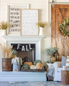 20 Fabulous Fall (Not Specifically Thanksgiving or Halloween) Mantels - Fireplace Decor Fall Home Decor, Autumn Home, Fall Decor Signs, Modern Fall Decor, Konmari, Halloween Mantel, Halloween Stuff, Fall Mantel Decorations, Thanksgiving Decorations