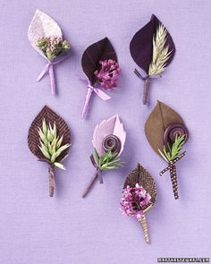 boutonnieres- fabric leaves