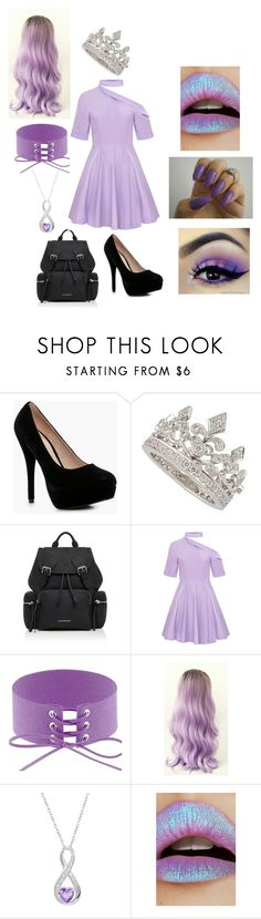 """Purple Princess - Rainbow Collection"" by mychristapie on Polyvore featuring Boohoo, Garrard, Burberry, Radiant Gem and Lime Crime"