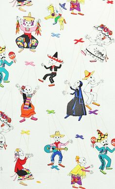 Alexander Henry Marionetas Fabric on Natural - Half Yard