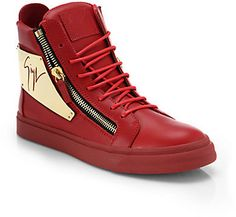 Giuseppe Zanotti Signature Metal-Plated Leather High-Top Sneakers
