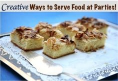 fall party food 18 Creative Ways to Serve Food at Parties! Mini Desserts, Delicious Desserts, Yummy Food, Party Snacks, Food Presentation, Holiday Recipes, Holiday Meals, Appetizer Recipes, Appetizers