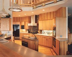 Best Mountain Home Design Interior; Kitchen Design: Awesome Kitchen Designs For Mountain Homes Wooden Cabinet