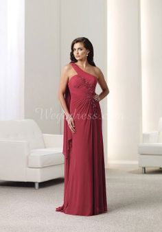 Chiffon A-line Applique & Ruffles One Shoulder Sweep Train Empire Mother Of The Bride Dress picture 1