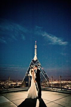 One of my new favorite photos. We were able to make a picture on top of the mellon building, above The Pyramid Club. One amazing couple in front of one ICONIC Philadelphia building. It was a good night. see more on my site: www.kahlweddings.com