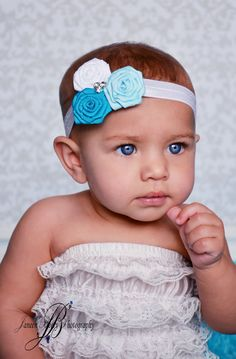 $12.50 Baby Headband Flower Rose with Rhinestone Center