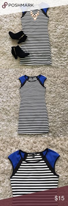 Fitted Striped Dress This form fitting dress is white with black stripes and blue cap sleeves! It has stretch to it!                                 NO TRADES                                                                                         All offers Considered Forever 21 Dresses Mini