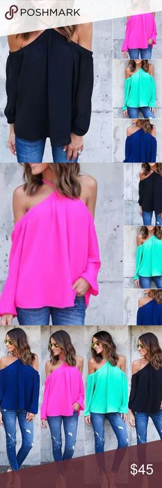 Loose fit Blouse🌹 Loose fit shoulder blouses long sleeves Available in XL green/ pink unk Tops Blouses