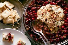 Baked Goat Cheese Roasted Cranberry Appetizer via @honeyandbirch
