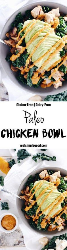 This paleo chicken bowl has the most delicious roasted pepper sauce. There are…