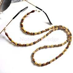Wood Beads Reading Eye Glasses Sunglasses Holder Chain Strap Cord Necklace #Unbranded
