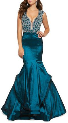 ff9b8eaaa5d9 Mac Duggal Embellished Mermaid Gown Blue Ball Gowns, Blue Gown, Blue  Evening Gowns,
