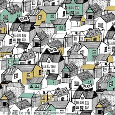 Village pattern illustration