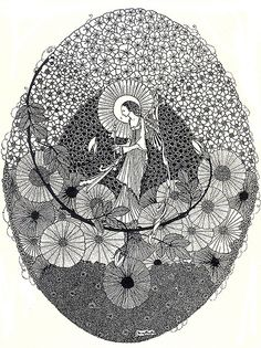 "Harry Clarke ~ The Year's at the Spring ~ 1920 To The Coming Spring ""With magic key... unlocking buds that keep the roses"""