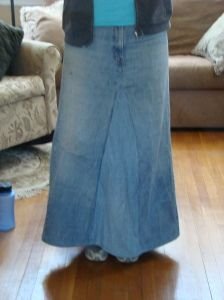 How to make a jean skirt from old pants